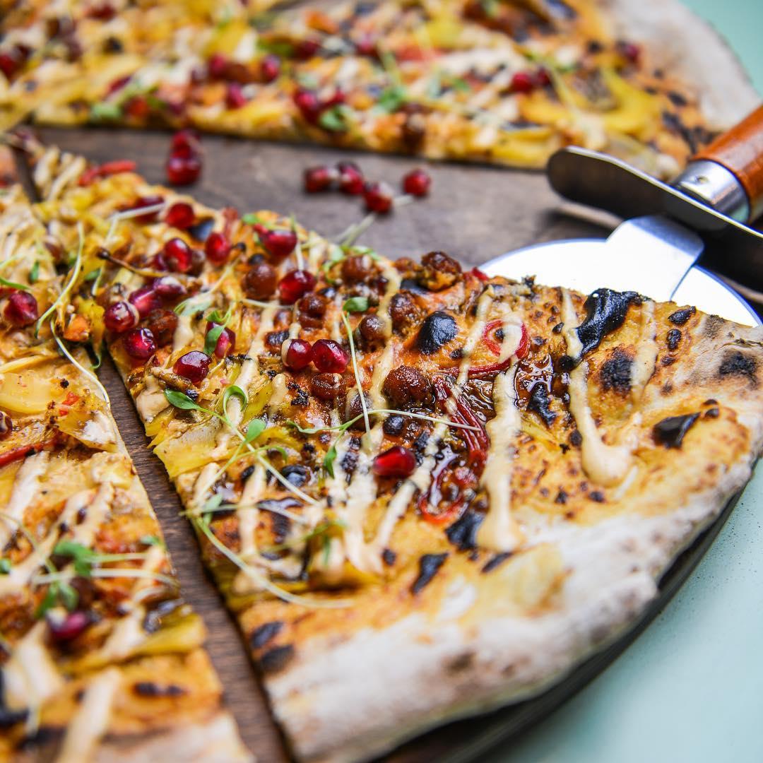City Pantry - Homeslice Pizza - Cauliflower Shawarma, Tahini & Pomegranate vegan pizza