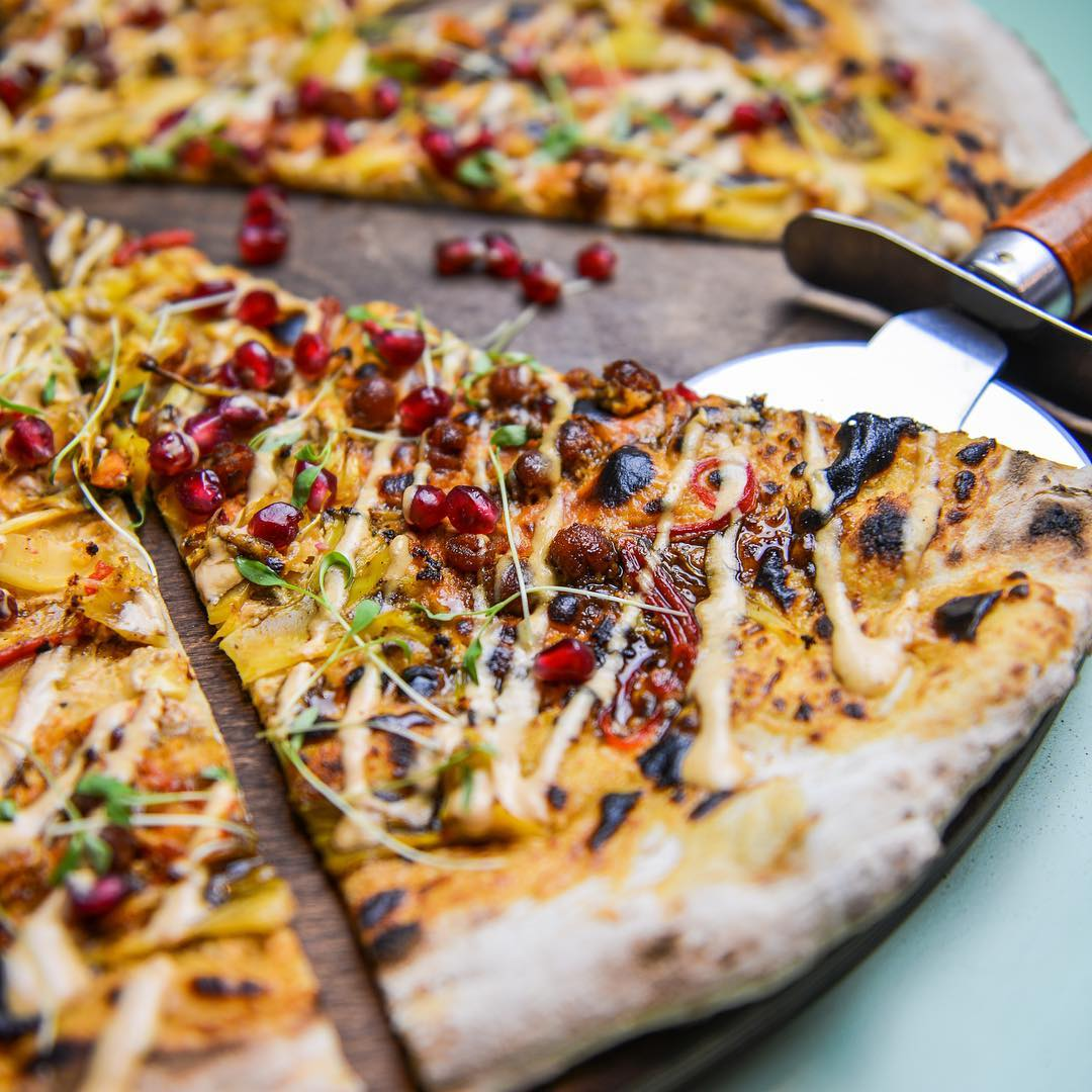 City Pantry - Homeslice Pizza - Cauliflower Shawarma, Tahini & Pomegranate vegan pizza