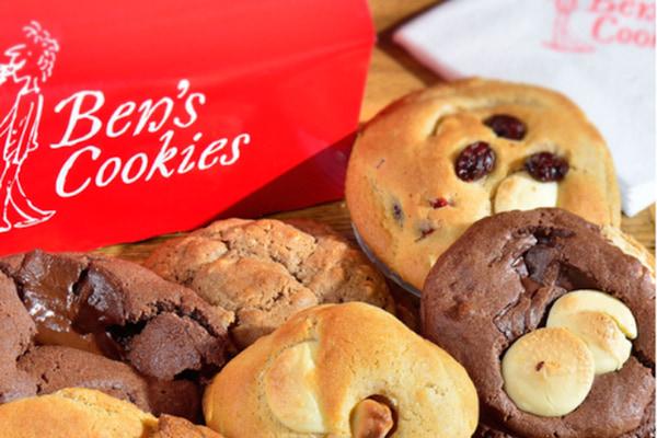 Photo of gooey cookies with Ben's Cookies logo
