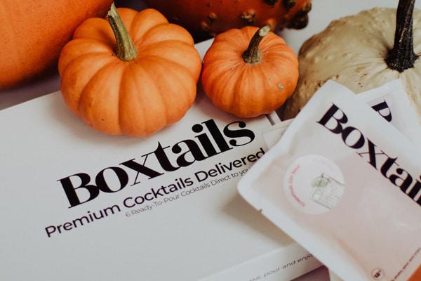 Box and sachets with Boxtails logo alongside pumpkins