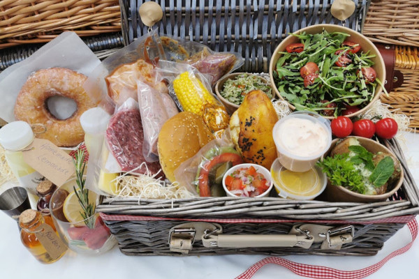 Hamper full of food