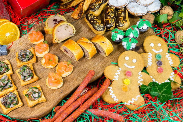 Platter of Christmas themed foods