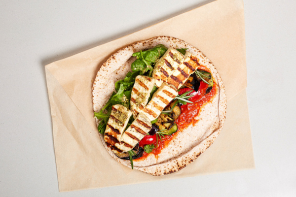 Open wrap with grilled chicken