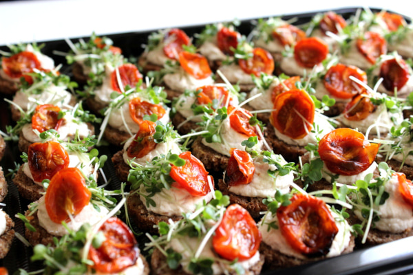 Canapes lined up in a box