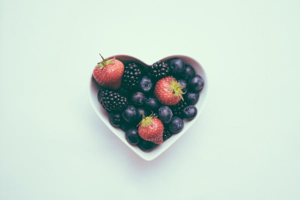 Heart-shaped bowl of berries