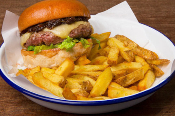 beef burger and chips in a bowl
