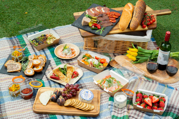 Lots of food on a picnic blanket on the grass