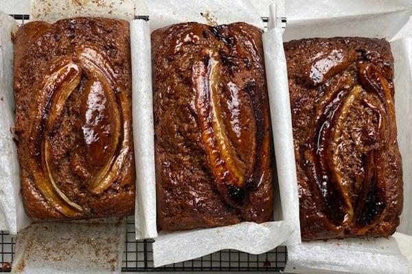 three banana bread loaves