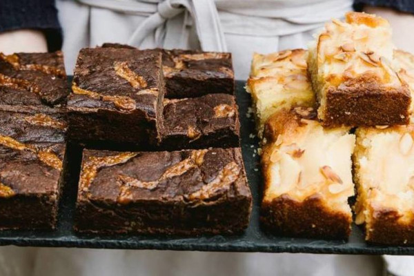 Tray of brownies and blondies