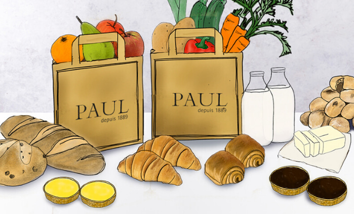 Illustration of produce including bread, pastries, and veg