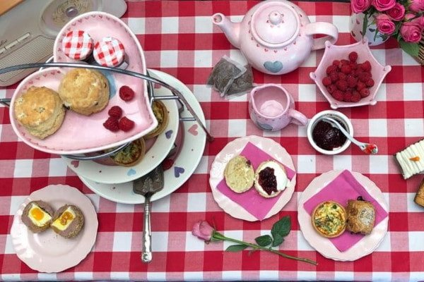 Afternoon tea on a gingham blanket