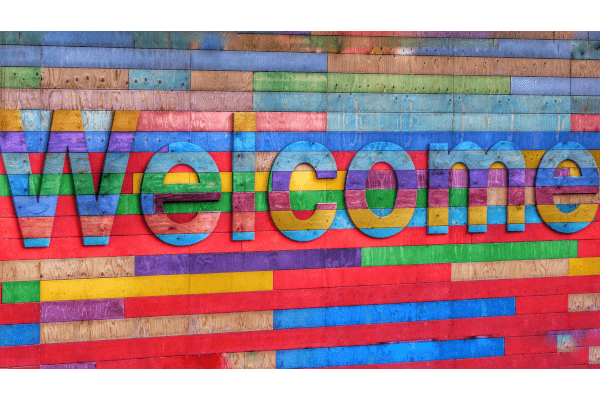 Multi-coloured Welcome sign