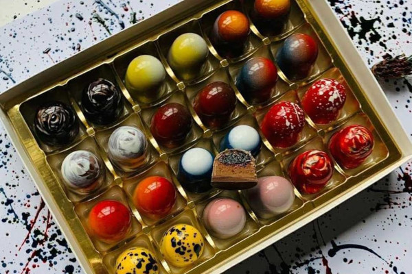 Box filled with colourful chocolates