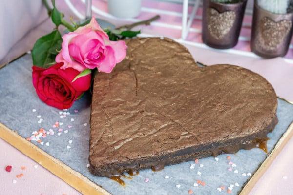 Giant heart-shaped brownie