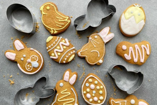 Cookies shaped and decorated liked bunnies, chicks, and eggs
