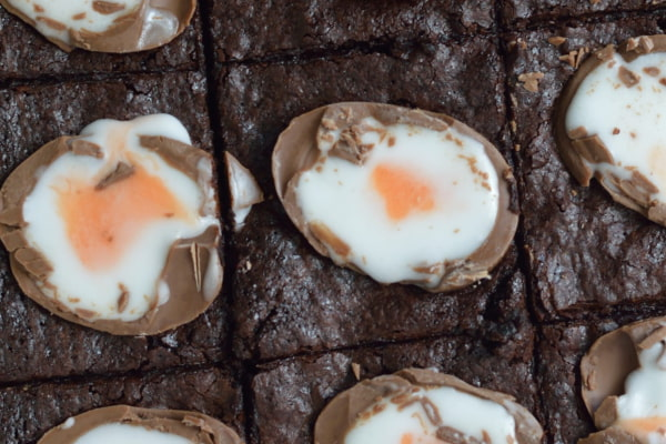 Brownie slices stuffed with Creme Eggs