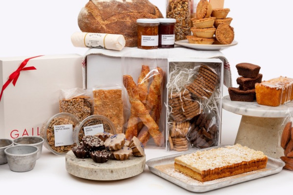 Lots of baked goods against a white background