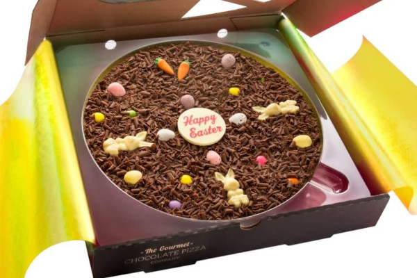 Chocolate pizza with easter decorations
