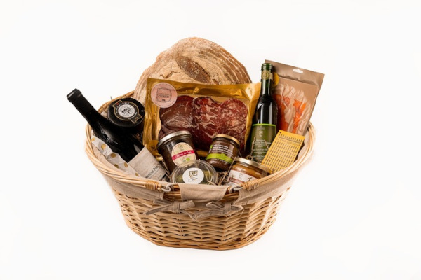 Wicker hamper filled with food