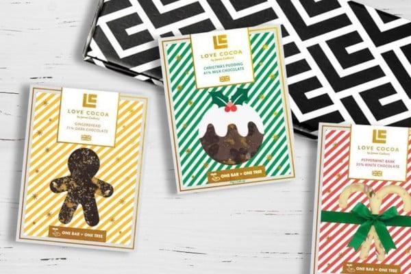 three Christmas themed chocolate bars