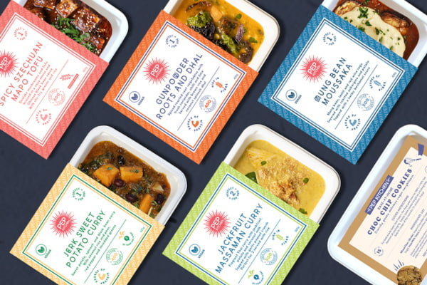 6 plant based ready meals in colourful packaging