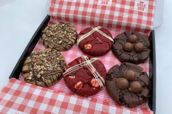 Box with gingham liner filled with cookies