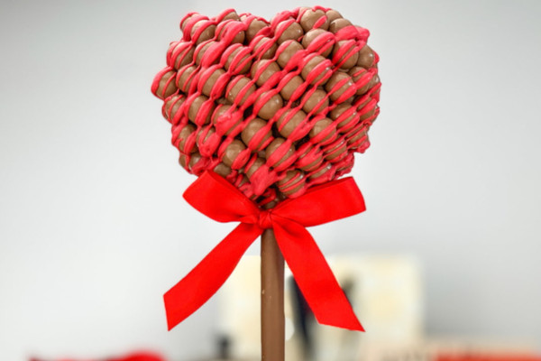 Chocolates in a heart shape on a stick