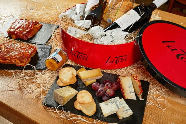cheese board and red gift box